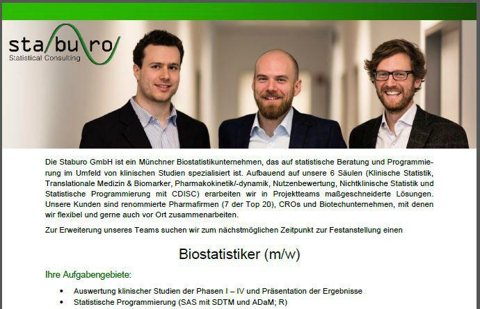 Staburo Biostatistiker Munich