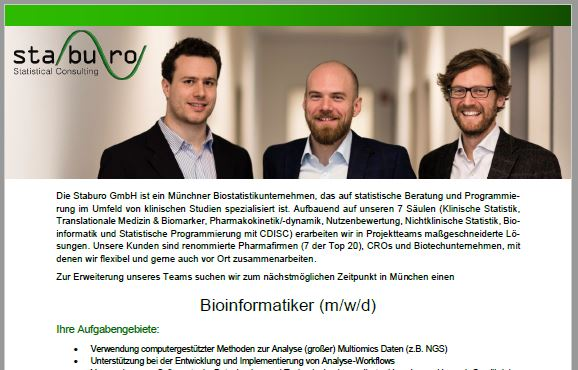 Staburo Bioinformatiker Munich