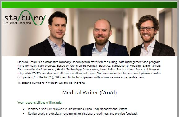 Staburo Medical Writer Munich