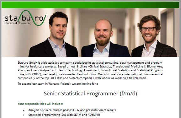 Staburo Senior Statistical Programmer Warsaw