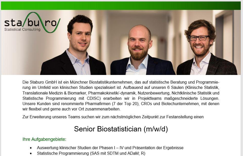 Senior Biostatistician (m/w/d) in Munich